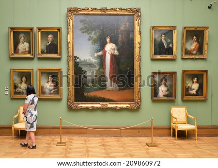 MOSCOW, RUSSIA - AUGUST 7,2014:State Tretyakov Gallery is art gallery in Moscow and is foremost depository of Russian fine art in world. Gallery's history starts in 1856. Hall of artist Borovikovsky - stock photo