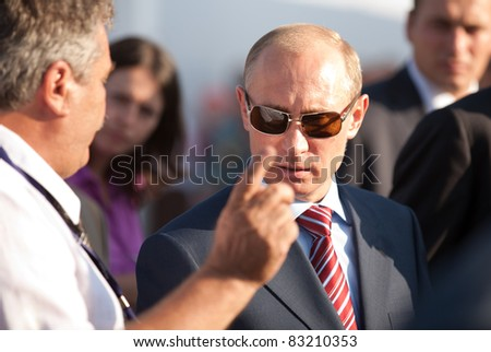 MOSCOW, RUSSIA, AUGUST,17: Vladimir Putin, Russian Prime Minister  at the International Aviation and Space salon MAKS. August,17, 2011 at Zhukovsky, Russia - stock photo