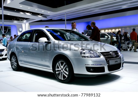 MOSCOW, RUSSIA - AUGUST 27: Volkswagen Jetta presented at the Moscow International Autosalon on August 27, 2010 in Moscow. - stock photo