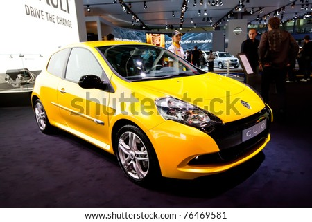 MOSCOW, RUSSIA - AUGUST 25:  Yellow car Renault Clio on display at Moscow International exhibition InterAuto on August 25, 2010 in Moscow, Russia.