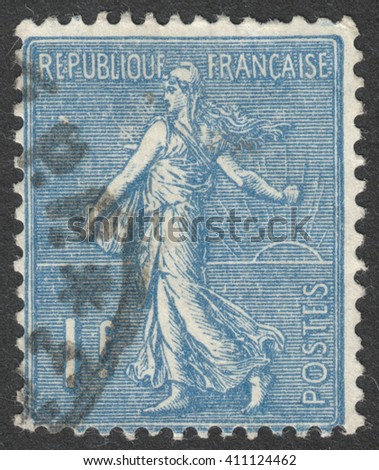 MOSCOW, RUSSIA - CIRCA APRIL, 2016: a post stamp printed in FRANCE shows Sower, circa 1924-1926 - stock photo