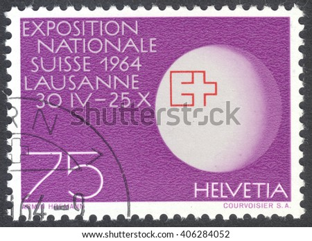 MOSCOW, RUSSIA - CIRCA APRIL, 2016: a post stamp printed in SWITZERLAND shows a globe with expo-badge, dedicated to the Swiss National Exhibition, Lausanne, Switzerland, circa 1963 - stock photo