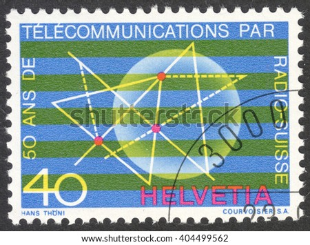"""MOSCOW, RUSSIA - CIRCA APRIL, 2016: a post stamp printed in SWITZERLAND, the series """"Swiss Alps - The 50th Anniversary of the Radio Switzerland"""", circa 1971 - stock photo"""