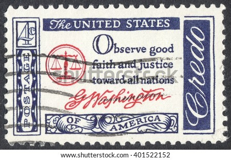 """MOSCOW, RUSSIA - CIRCA APRIL, 2016: a post stamp printed in the USA shows the  inscription """"Observe Good Faith and Justice Toward All Nations (Washington)"""", the series """"American Credo"""", circa 1960 - stock photo"""
