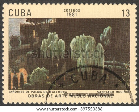 "MOSCOW, RUSSIA - CIRCA FEBRUARY, 2016: a post stamp printed in CUBA shows a painting ""Gardens of Palma de Mallorca"" by Santiago Rusinol, the series ""The National Museum - Paintings"", circa 1981"