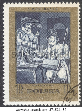 "MOSCOW, RUSSIA - CIRCA FEBRUARY, 2016: a post stamp printed in POLAND shows scene from ""Ideal"" light opera by S.Moniuszko, the series ""The 100th Anniversary of the death of S. Moniuszko"", circa 1972"