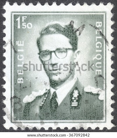 """MOSCOW, RUSSIA -  CIRCA JANUARY, 2016: a post stamp printed in BELGIUM shows a portrait of King Baudouin, the series """"King Baudouin"""", circa 1969-1970 - stock photo"""