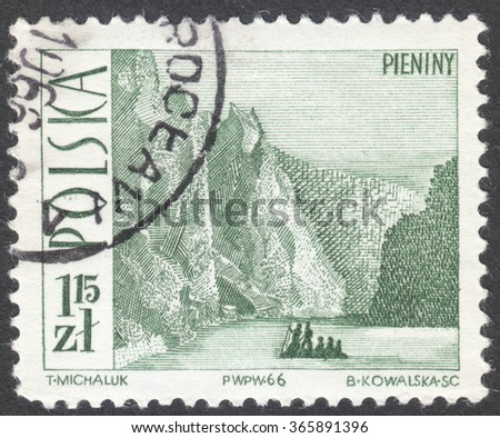 "MOSCOW, RUSSIA - CIRCA JANUARY, 2016: a post stamp printed in POLAND shows Pieniny, the series ""Tourism"", circa 1966"