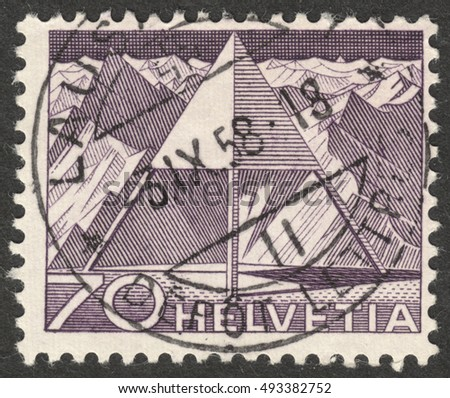 "MOSCOW, RUSSIA - CIRCA OCTOBER, 2016: a post stamp printed in SWITZERLAND shows Triangulation Point, the series ""Engineering"", circa 1949"