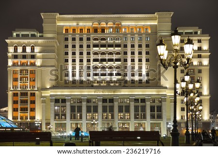 MOSCOW, RUSSIA - DEC 6, 2014: Four Seasons Hotel Moscow is modern luxury hotel, opening in October 2014, with facade that replicates historic Hotel Moskva, which previously stood on Manezhnaya Square - stock photo