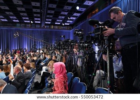 MOSCOW, RUSSIA - DEC 23, 2016: Journalists, the participants of the annual press conference of the President of Russia Vladimir Putin, in Center of international trade