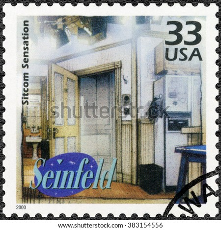 MOSCOW, RUSSIA - DECEMBER 28, 2015: A stamp printed in USA devote Seinfeld, television comedy, shows Sitcom Sensation, series Celebrate the Century, 1990s, circa 2000 - stock photo