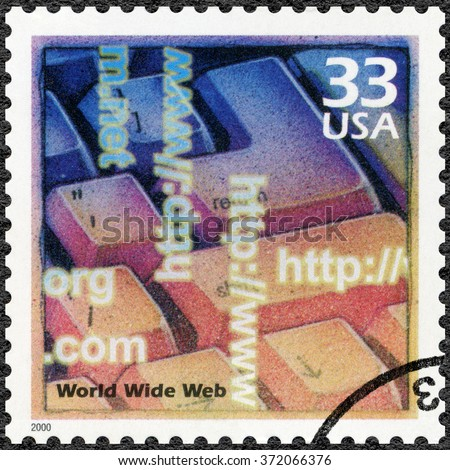 MOSCOW, RUSSIA - DECEMBER 28, 2015: A stamp printed in USA shows Computer keyboard, introduction of the Internet and the World Wide Web, series Celebrate the Century, 1990s, circa 2000 - stock photo