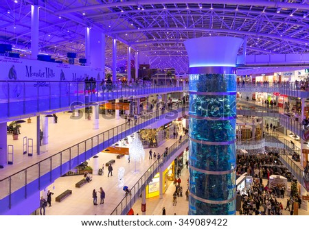 Moscow, Russia - December 8, 2015: Interior of Aviapark shopping mall in Moscow. Aviapark was opened in NOV 28, 2014.The full area is 390 000 square meters. - stock photo