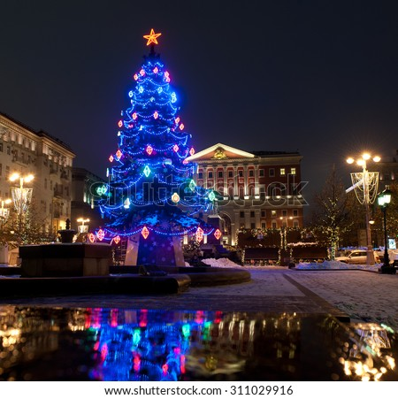 MOSCOW, RUSSIA - DECEMBER 13, 2014: Moscow decorated for New Year and Christmas holidays. Tverskaya square