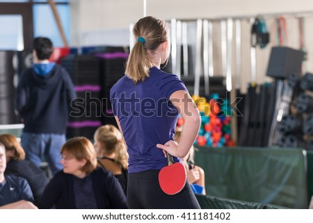 Moscow, Russia - December 16, 2012 - People playing ping pong - stock photo