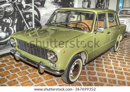 """MOSCOW,RUSSIA-DECEMBER 15-VAZ-2101(""""kopeck"""", release 1970-1988) is compact sedan car at the Museum of technique V.Zadorozhnyj on December 15;2015 in Moscow - stock photo"""