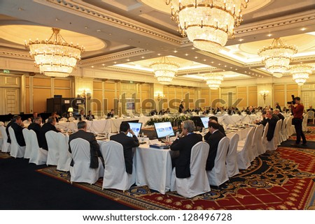 MOSCOW, RUSSIA - FEB 15: G20 Finance Ministers' and Central Bank Governors' Deputies Meeting on February, 15, 2013 in Ritz-Carlton Hotel, Moscow, Russia