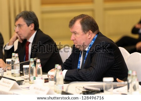 MOSCOW, RUSSIA- FEB 15: Nikolay Kosov - Chairman Of The Board International investment bank at G20 Finance Ministers and Central Bank Governors Deputies Meeting on February, 15, 2013 in Moscow, Russia