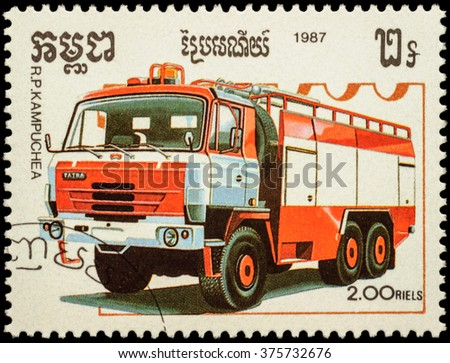 "MOSCOW, RUSSIA - FEBRUARY 12, 2016: A stamp printed in Cambodia shows Tatra fire engine, series ""Fire Engines"", circa 1987 - stock photo"