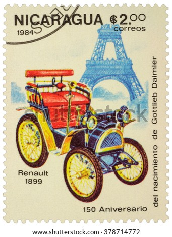 "MOSCOW, RUSSIA - FEBRUARY 06, 2016: A stamp printed in Nicaragua shows first car Renault (1899), series ""The 150th Anniversary of the Birth of Gottlieb Daimler, 1834-1900 - Vintage Cars"", circa 1984 - stock photo"