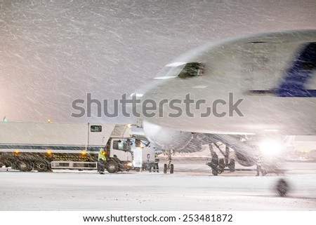 Moscow, Russia, February, 09,2015: aircraft and airport equipment - stock photo