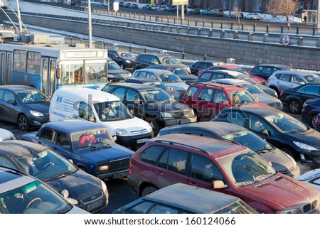 MOSCOW,RUSSIA - - FEBRUARY 8: Big transport stopper, 08.02.2012, Moscow, Russia. Road jams arise because of a large number of transport which exceeds the maximum capacity of roads in the city
