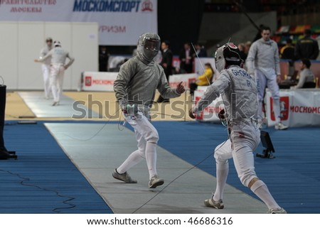 MOSCOW, RUSSIA - FEBRUARY 12: First day of 2010 RFF Moscow Saber World Fencing Tournament, is a one of the most prestigious international competitions in fencing, February 12, 2010 in Moscow, Russia. - stock photo