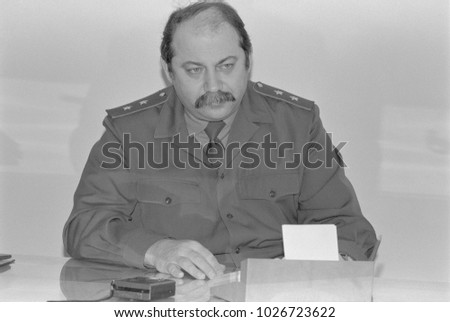 Moscow, Russia - February 28, 1992: First Deputy Defence Advisor of Russian Federation Samoylov Viktor Ivanovich in his cabinet.