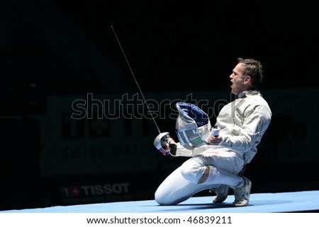 MOSCOW, RUSSIA - FEBRUARY 13: Hungary's Zsolt Nemcsik holder Cup Grand Prix event at the 2010 RFF Moscow Saber World Fencing Tournament, February 13, 2010 in Moscow, Russia. - stock photo