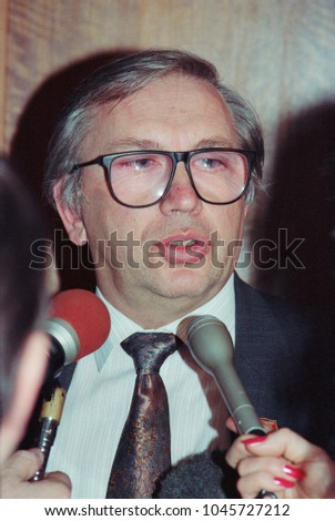 Moscow, Russia - February 07, 1992: Newly appointed ambassador of Russia to the USA Vladimir Petrovich Lukin at his press-conference
