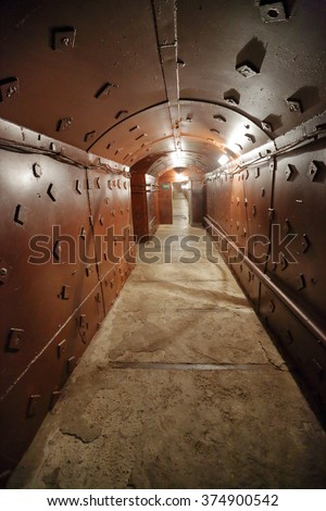MOSCOW, RUSSIA - FEBRUARY 08, 2016: Old bunker during the Cold War. Corridor in the anti-nuclear bomb shelter - stock photo
