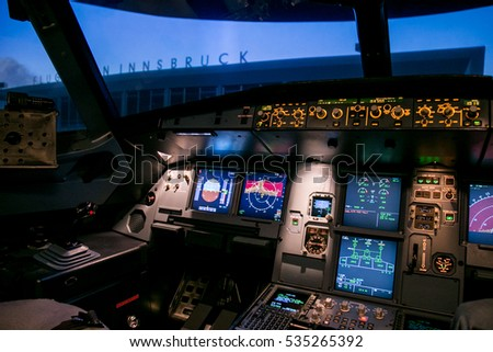 Moscow, Russia - February 18, 2015: Real Flight Hydraulic Simulator for the Training of the Pilots. Filter Applied.
