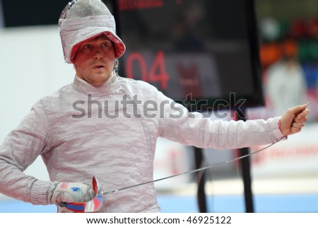 MOSCOW, RUSSIA - FEBRUARY 14: Russia's Nikolay Kovalev compete at the 2010 RFF Moscow Saber World Fencing Tournament, February 14, 2010 in Moscow, Russia. - stock photo