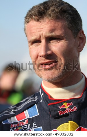 "MOSCOW, RUSSIA - FEBRUARY 23: Scottish racing driver David Coulthard during the 21st traditional ""Race Stars"" Za rulyom ""on the ice road in Tushino, February 23, 2010 in Moscow, Russia."