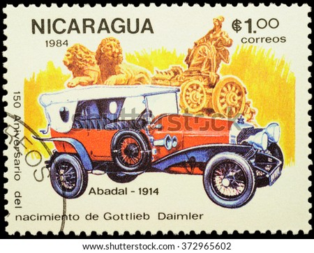 """MOSCOW, RUSSIA - FEBRUARY 06, 2016: stamp printed in Nicaragua shows old luxury car Abadal (1914), series """"The 150th Anniversary of the Birth of Gottlieb Daimler, 1834-1900 - Vintage Cars"""", circa 1984 - stock photo"""