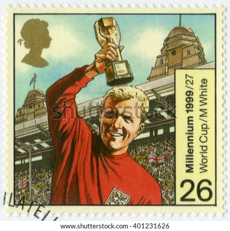MOSCOW, RUSSIA - JANUARY 16, 2016: A stamp printed in Great Britain shows Robert Frederick Chelsea Bobby Moore (1941-1993), 1966 World Cup Soccer Champions, Entertainment and sports, 1999 - stock photo