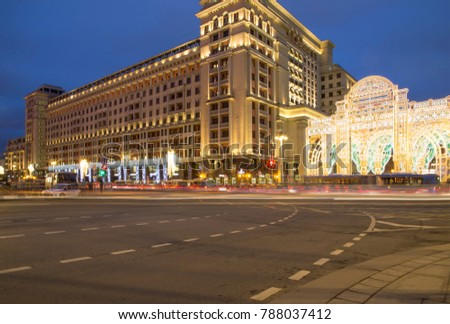 MOSCOW, RUSSIA - JANUARY 04, 2018:  Christmas and New Year holidays illumination and Four Seasons Hotel Moscow at night. Russia