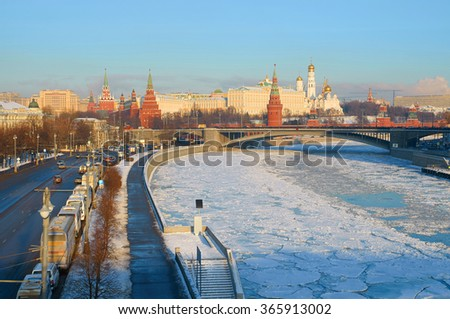 MOSCOW, RUSSIA - JANUARY 11, 2016: View of Moscow Kremlin in the winter and Bolshoy Kamenny Bridge - stock photo