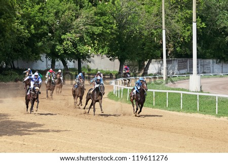 MOSCOW, RUSSIA - JUL 07: The races for the prize of the President of the Russian Federation on Jul 07, 2012 in Moscow - stock photo