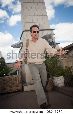 "MOSCOW, RUSSIA, JULY, 18: Actor  Christian Slater. Premiere of the  movie ""Soldiers of Fortune"", July,18, 2012 at  UKRAINA HOTEL in Moscow, Russia"