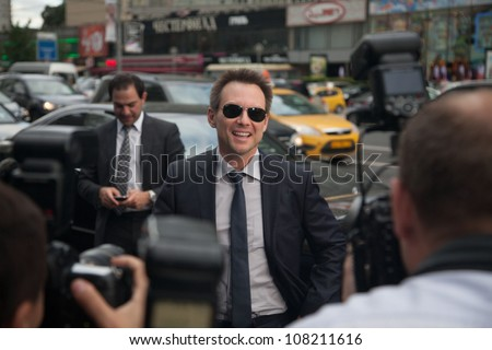"""MOSCOW, RUSSIA, JULY, 18: Actor Christian Slater. Premiere of the movie """"Soldiers of Fortune"""", July,18, 2012  in Moscow, Russia - stock photo"""