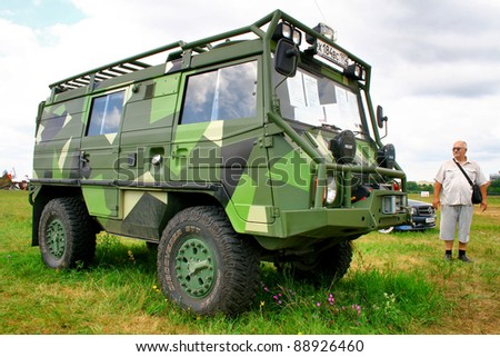 "MOSCOW, RUSSIA - JULY 10: Austrian vehicle Steyr Pinzgauer exhibited at the annual International Motor show ""Autoexotica"" on July 10, 2011 in Moscow, Russia."