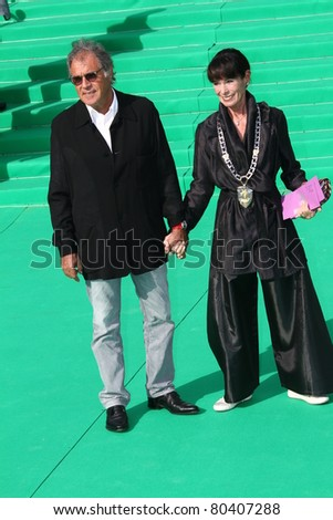 MOSCOW, RUSSIA - JULY 2: Geraldine Chaplin and her husband Patricio Castilla arrives at the closing ceremony of the Moscow International film festival on July 2, 2011 in Moscow, Russia. - stock photo