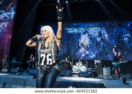"MOSCOW, RUSSIA - JULY 30: German hard rock singer ""Doro"" performs at the ""Ariafest"" on July 30, 2016 in Green Theatre, Gorky Park, Moscow, Russia."