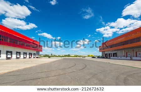 MOSCOW, RUSSIA - JULY 22, 2014: Modern warehouses. - stock photo