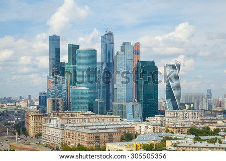 MOSCOW, RUSSIA - JULY 29, 2015: Moscow international business center Moscow-city. Built business district in Moscow, Presnenskaya embankment. - stock photo
