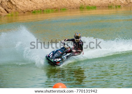 MOSCOW, RUSSIA - JULY 1, 2017: Nick Arhipov practice races on aquabike, in the Velyaminovo Race Weekend 2017, Motopark Velyaminovo, Istrinsky district