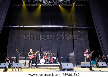 "MOSCOW, RUSSIA - JULY 30: Russian Rock band ""Cruise"" performs at the ""Ariafest"" on July 30, 2016 in Green Theatre, Gorky Park, Moscow, Russia. Reunion Golden cast 15 years later."