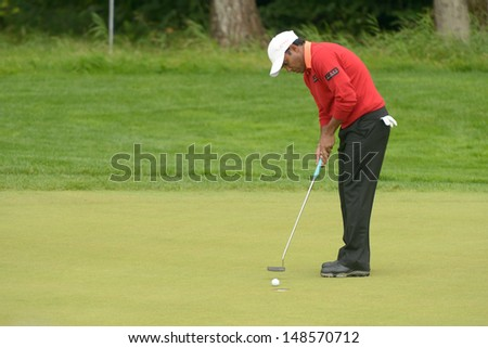 MOSCOW, RUSSIA - JULY 27: Soren Hansen of Denmark in action during 3rd round of the M2M Russian Open at Tseleevo Golf & Polo Club in Moscow, Russia on July 27, 2013